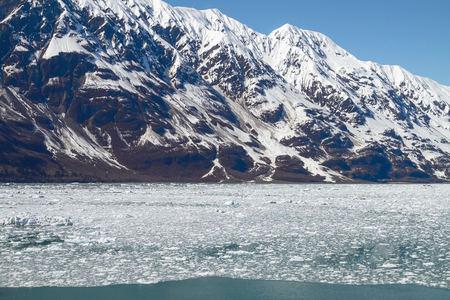 icefield: Small Icebergs Floating in Sea Close to Hubbard Glacier in Alaska.