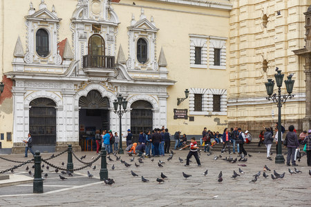 ancash: People Waiting to Visit Monastery of San Francisco in Lima, Peru. The church contains a museum and catacombs which are popular place to visit by tourists.