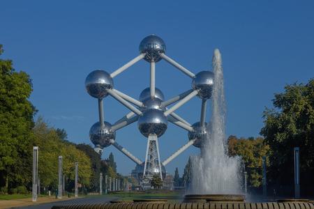 Famous Sculpture Atomium in Brussels in Belgium.