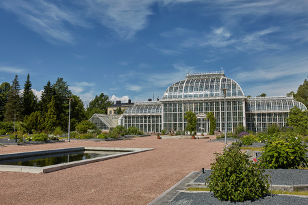 Kaisaniemi botanic garden and its greenhouse in Helsinki Finland.