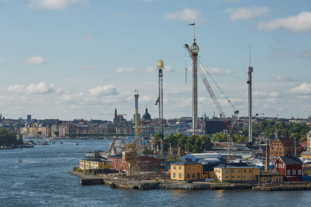 City landscape and Tivoli Grona Lund - Gronan - amusement park on the Djurgarden Island in Stockholm in Sweden