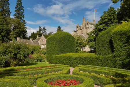 CAWDOR, NAIRN, SCOTLAND, UK - AUGUST 07, 2017: Cawdor Castle surrounded by its beautiful gardens near Inverness, Scotland