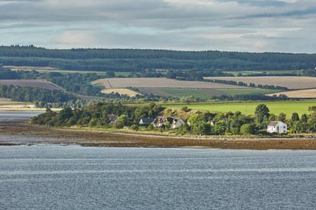 Seascape and landscape of Invergordon in Scotland, UK