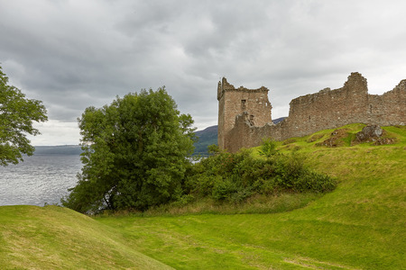 Urquhart Castle on the Shore of Loch Ness, Scotland Stock Photo - 123490416