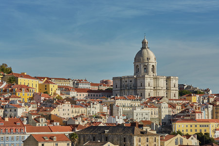 View of national pantheon and cityline of Alfama in Lisbon, Portugal