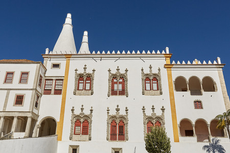 Palace of Sintra (Palacio Nacional de Sintra) in Sintra Portugal during a beautiful summer day Editorial