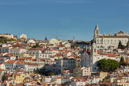 View of traditional architecture and houses on Sao Jorge hill in Lisbon, Portugal