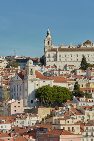 View of traditional architecture and houses on Sao Jorge hill in Lisbon, Portugal Stock Photo - 123490429