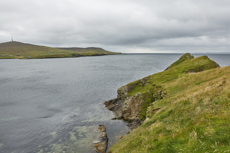 Coastal view toward the Knab in Lerwick, which is the main port on the Shetland Isles, Scotland Stock Photo