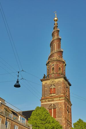 Detail of the Church of Our Saviour (Vor Frelsers Kirke), Copenhagen, Denmark. It is famous for its helix spire with an external winding staircase that can be climbed to the top.