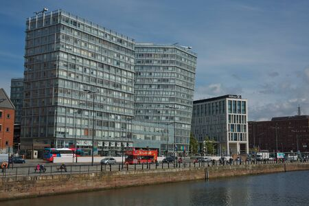 LIVERPOOL, ENGLAND, UK - JUNE 07, 2017: Modern architecture at the Strand street in Liverpool city, England