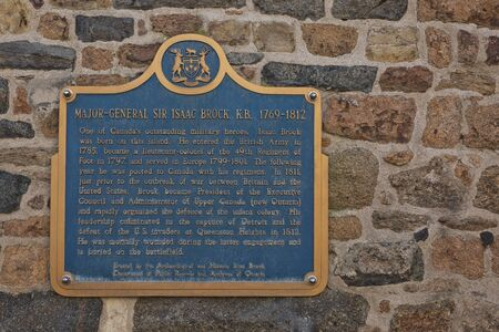 ST. PETER PORT, GUERNSEY, CHANNEL ISLANDS - AUGUST 16, 2017: Dedication to Major-General Isaac Brock commemorating his life as a local resident ofmSt. Peter Port in Guernsey. Editorial