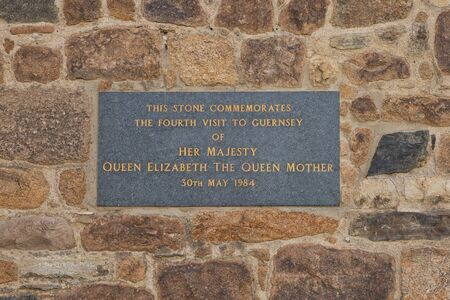 ST. PETER PORT, GUERNSEY, CHANNEL ISLANDS - AUGUST 16, 2017: Dedication to Queen Elizabeth the Queen Mother commemorating the date of her fourth visit of Guernsey. Editorial