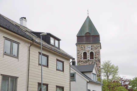 View of a historical stone church in Alesund Norway.