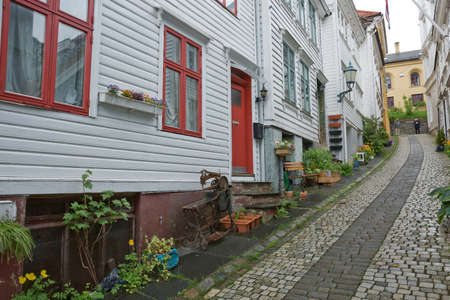 Old vintage houses and classic architecture in town of Bergen in Norway