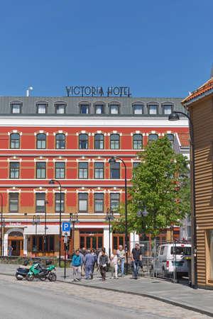 STAVANGER, NORWAY - JUNE 01, 2017: Hotel Victoria and architecture in the city of Stavanger in Norway. Sajtókép