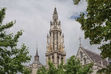 View of a cathedral of our lady in Antwerp Belgium. Stock Photo