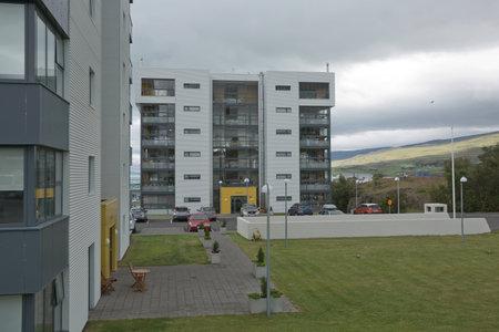 Akureyri, Iceland - July 27, 2017: Residantial area full of block of flats for people living in Akureyri in Iceland. Editorial