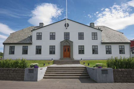 Reykjavik, Iceland - July 29, 2017: Stjornarradid, the location of the prime minister's office and the headquarters of the Icelandic Government in Reykjavik in Iceland. Editorial