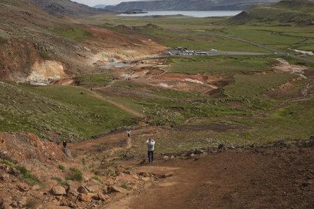 Reykjanes, Iceland - July 30, 2017: Seltun geothermal area in Krysuvik, Reykjanes peninsula, Iceland.