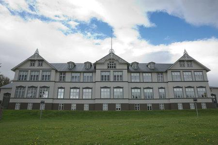 Akureyri, Iceland - July 27, 2017: Building of Junior College in Akureyri in Iceland during summer.