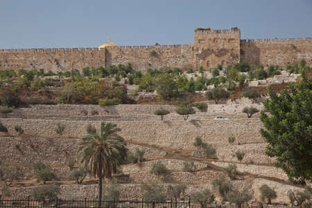 Terraces of the Kidron Valley and the the wall of the Old City in Jerusalem in Israel.