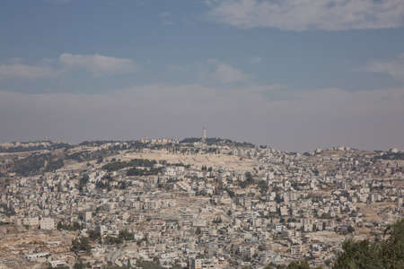 View of Mount of Olives over the old city of Jerusalem in Israel.