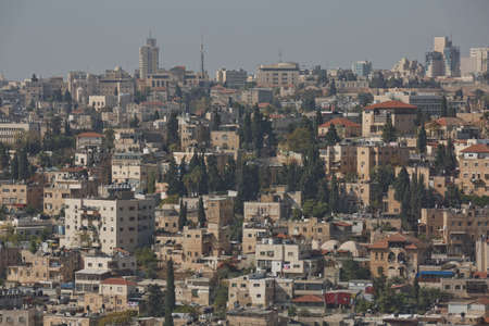 Jerusalem, Israel - October 23, 2017: City of Jerusalem in Israel was built on the desert. It is one of the oldest cities in the world and is considered holy by Jewish, Muslims and Christians.