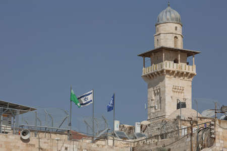 Jerusalem, Israel - October 23, 2017: Tower at the Western 'Wailing' Wall of Ancient Temple in Jerusalem. The Wall is the most sacred place for all jews in the world.