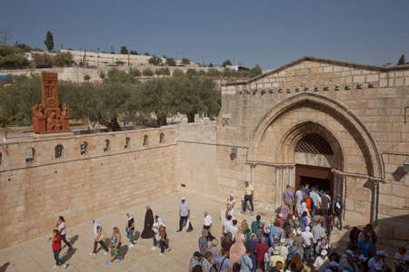 Jerusalem, Israel - October 23, 2017: People entering Church of the Sepulchre of Saint Mary, known as Tomb of Virgin Mary, sanctuary at Mount of Olives in Kidron river valley near Jerusalem. Editorial