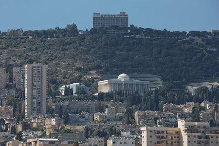 Haifa, Israel - October 22, 2017: Haifa is city in Israel situated on Mediterranean Coastal Plain, mouth of Kishon River and on northern slopes of Mount Carmel and around Haifa Bay.