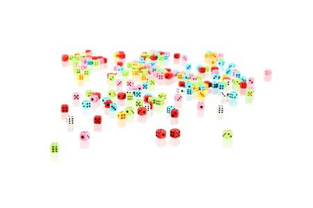 a lot of colorful playing dices with reflex Stock Photo - 2740266