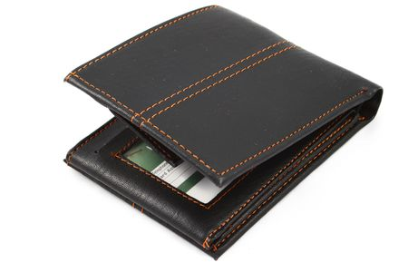 creditcards: black wallet isolated on white background
