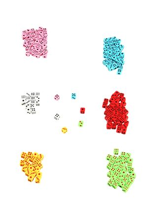 a lot of colorful playing dices (may symbolized teams or groups with leaders) Stock Photo - 2740300