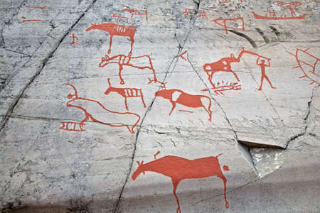 scandinavian people: Prehistoric paintings Stock Photo