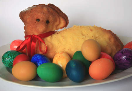 Easter lamb with easter eggs