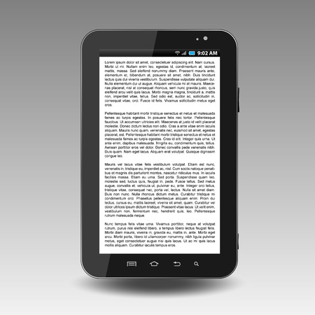 the reader: Tablet with text on display