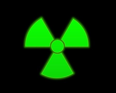 infectious waste: the green radioactive symbol on black background