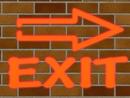 shingle: the exit neon sign on brick wall