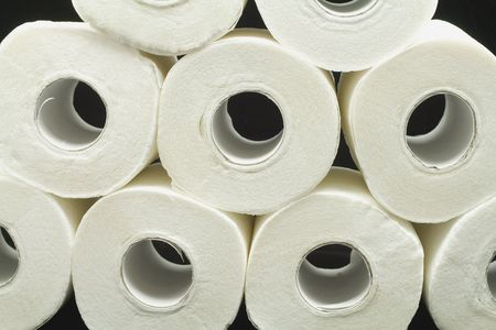 a lot of toilet papers on black background Stock Photo - 2740509