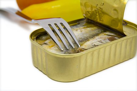 enough: open can of sardines isolated on white background Stock Photo