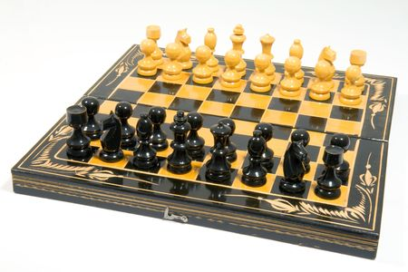 old wooden glyphic chess figures Stock Photo - 3181037