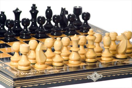 old wooden glyphic chess figures Stock Photo - 3181038