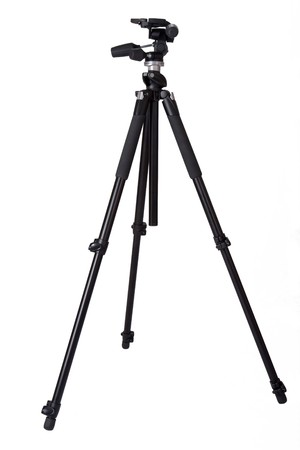 professional camera tripod on white background