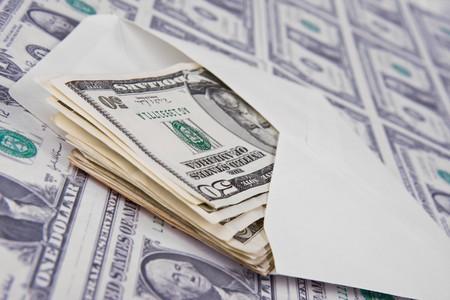 envelope on american money background photo