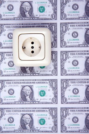 electric plug and american money photo