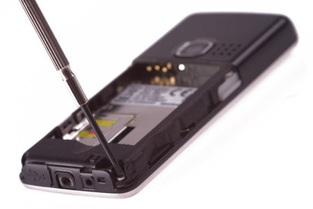 cordless phone: cellphone repair on white background Stock Photo