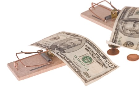 mousetrap with american money photo