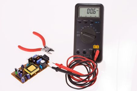 test probe: the digital multimeter and electronics components
