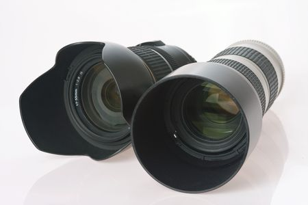 two professional camera lens on white background Stock Photo - 4717399